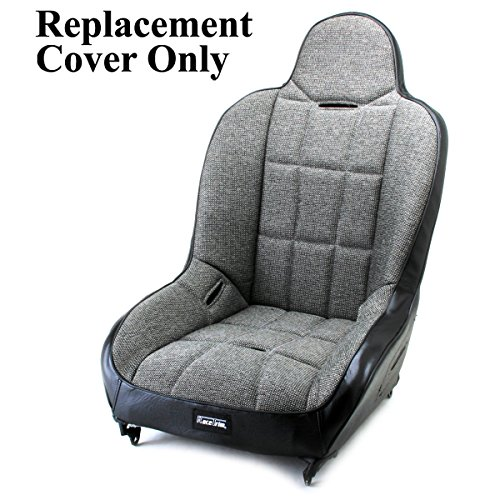 Back Suspension Seat - Empi 62-2750-7 Race Trim Hi-Back Seat Cover Only - Grey Cloth/Black Vinyl