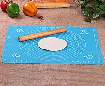 "Rolling Pin & Silicon Pastry Mat,Silicone Large Pastry Mat With 19.6"" x 15.7"",Dough Roller Sleek and Sturdy 11.8"" Perfect Match"