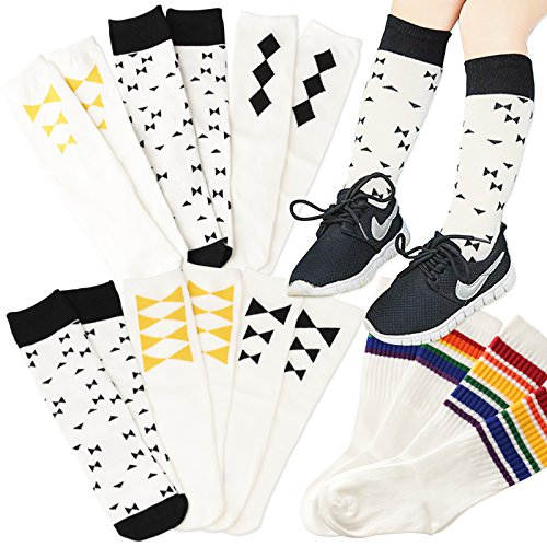 Price comparison product image 2-Pack/3-Pack Cotton Striped / Assorted Designs Knee High Socks Girls Boys Kids (4-7 Years, Assort_1)