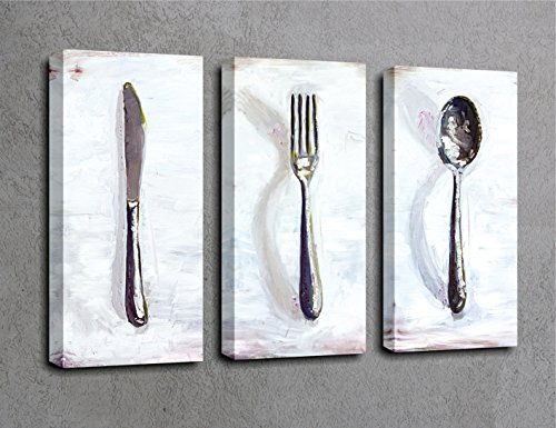 LaModaHome Kitchen Canvas Wall Art, Knife, Spoon, Dinner Fork, Kitchen Set Wooden Thick Frame Painting, Total Size (26