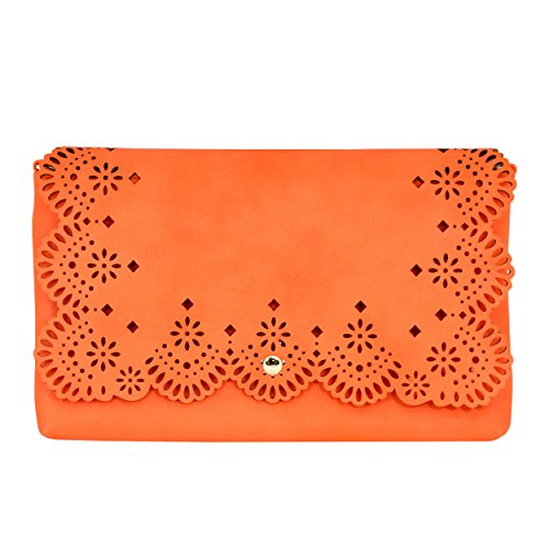 MoDA-Bridesmaids Stenciled Perforated Cut-Out Clutch with Attachable Chain Strap by MODA