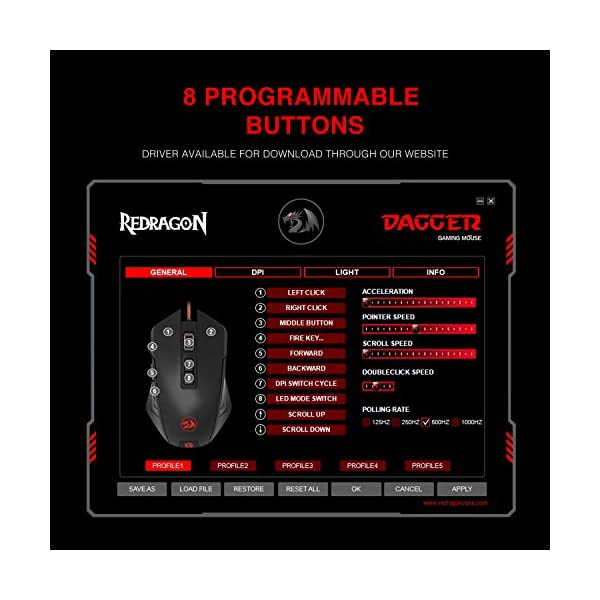 Redragon M715-RGB Gaming Mouse LED Backlit Wired MMO, Ergonomic High-Precision Programmable with 7 RGB Backlight Modes…