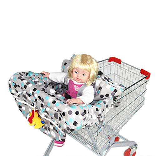 (Per 2-in-1 Shopping Cart Cover Polka Dot High Chair Cover Protective Cushion Full Safety Harness Universal Fit Foldable and Washable for Baby Toddlers)