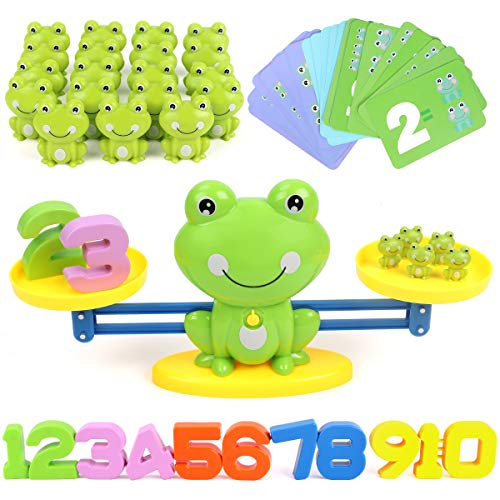 GILOBABY Frog Balance Math Toys Game, STEM Learning Educational Counting Numbers Toys for Toddlers Boys & Girls, Gifts for Kids