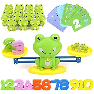 GILOBABY Frog Balance Math Toys Game, STEM Learning Educational Counting Numbers Toys for Toddlers Boys & Girls, Gifts for Kids Age 3+