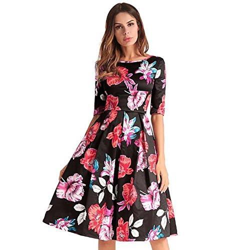 120194f342 Mujeres cuello redondo manga media floral de cintura alta Midi vestido  Swing Colormatch una línea falda
