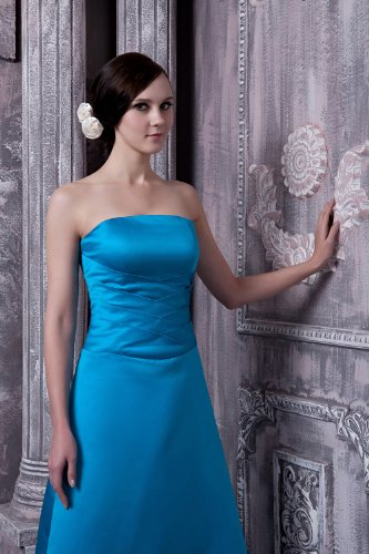 traegerlose Lange Entwurf Einfache Abendkleid elegantes Blau Neuester GEORGE BRIDE Blau FHYvww