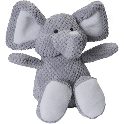 goDog Checkers Elephant With Chew Guard Technology Tough Plush Dog Toy, Grey, Large