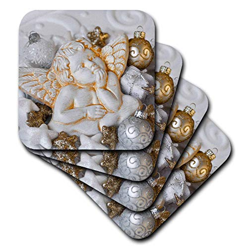 (3dRose Andrea Haase Christmas Photography - Christmas Ornaments With White Cherub Photography - set of 8 Ceramic Tile Coasters (cst_318595_4))