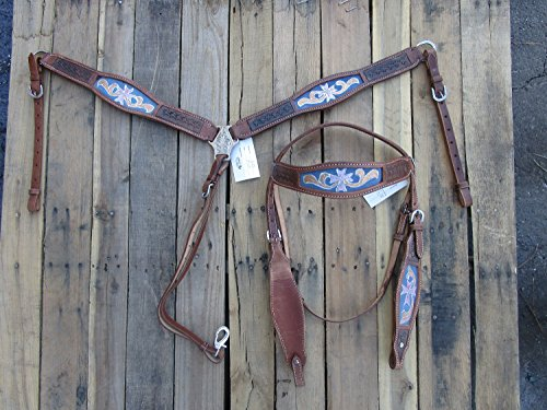 WESTERN HORSE LEATHER HEADSTALL BREAST COLLAR TURQUOISE BLUE ORANGE PAINTED SHOW BARREL RACING - Breast Tex Tan Collar
