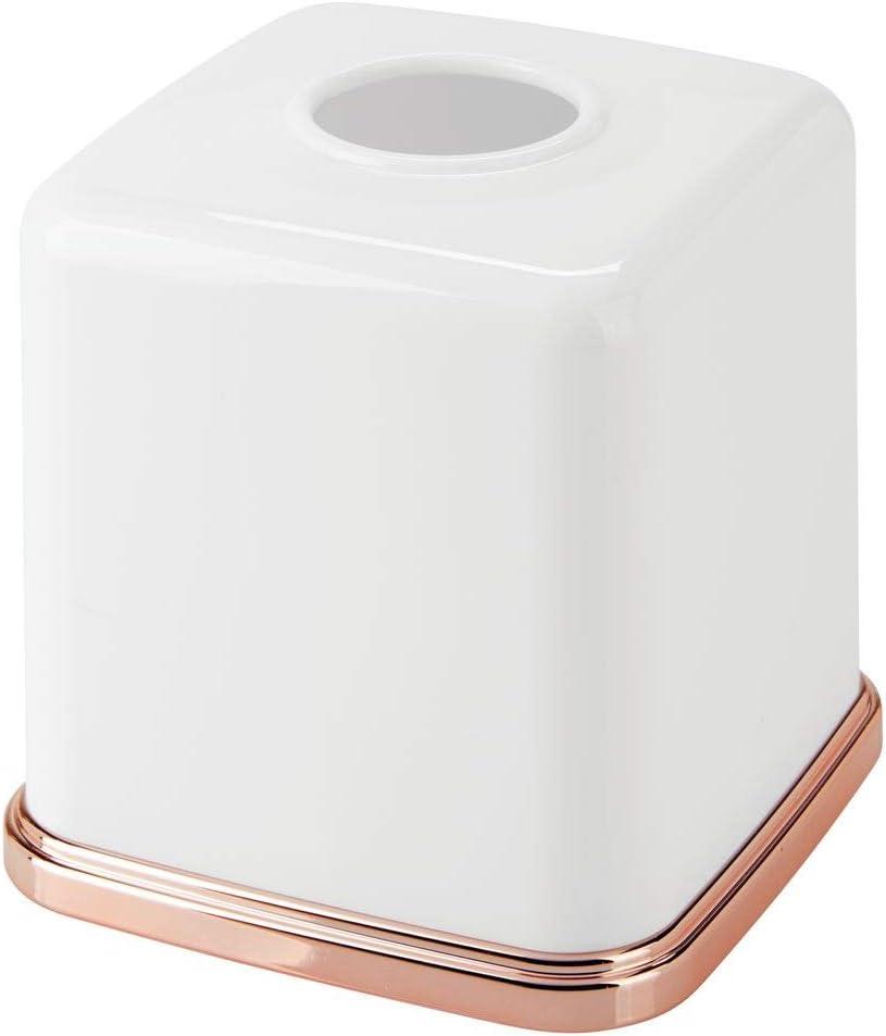 blanco//dorado rojizo Modernas y elegantes cajas para pa/ñuelos de papel ideales como fundas mDesign Fundas para cajas de pa/ñuelos Pr/áctico dispensador de pa/ñuelos para el ba/ño o la oficina