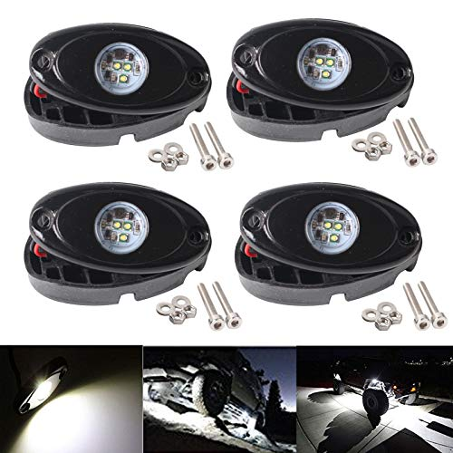 (LY8 4 Pods 9W CREE LED Rock Lights Kit White for JEEP TJ JK Off Road Truck Boat SUV Underbody Glow Trail Rig Lamp Waterproof)
