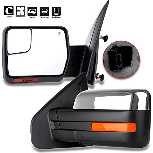 (SCITOO fit Ford Towing Mirrors Chrome Rear View Mirrors fit 2004-2014 Ford F-150 Truck with Mirror Glass Power Control Heated Turn Signal and Puddle Lamp Features-Pair)