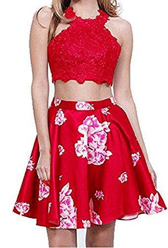 Dresses Floral Party Halter Red Lace BD348 Short Homecoming BessDress Cocktail Dresses 1SCdwqT8