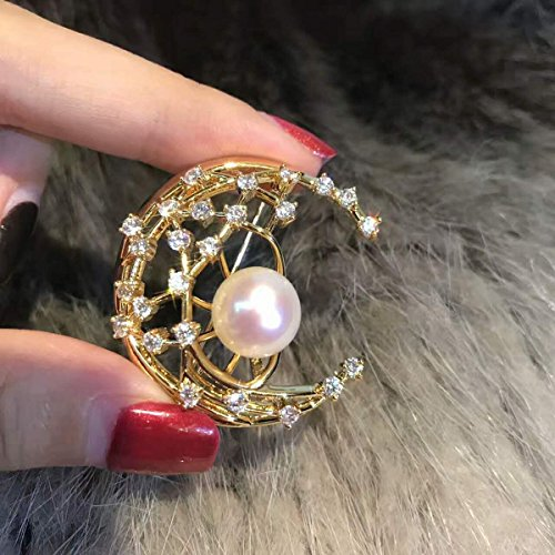 (TKHNE Freshwater pearl corsage brooch pin badge pin cherry pink moon shape glare flawless pearl inlay bread)