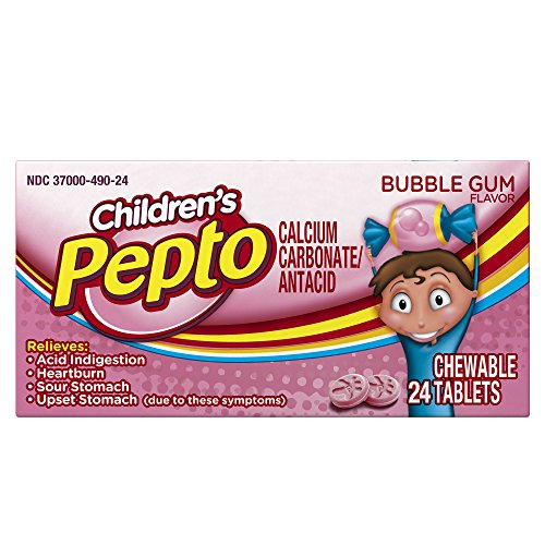 Chewable Tablets Bubble Gum (Pepto Bismol Kids Acid Indigestion, Heartburn, Sour Stomach, Upset Stomach Relief Medicine, Bubblegum Flavor, 24 Chewable Tablets (Pack of 6))