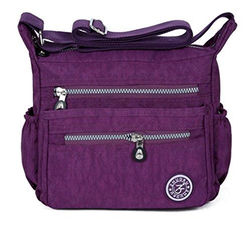 Crossbody BagVEMOW Women Girl Anti Theft Messenger Vintage Strap Purse Tote Handbag Satchel Bags Purses Backpacks Shoulder Clutches, Lady's Diagonal Nylon Waterproof Homeless Bag Purple