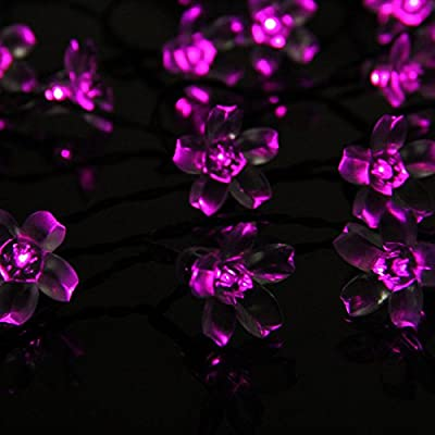 iShining Solar Outdoor String Lights 23Ft 50LED Garden Lights Pink Blossom Christmas Lights Waterproof Decorative Light for Christmas, Party, Garden, Patio, Indoor and Outdoor