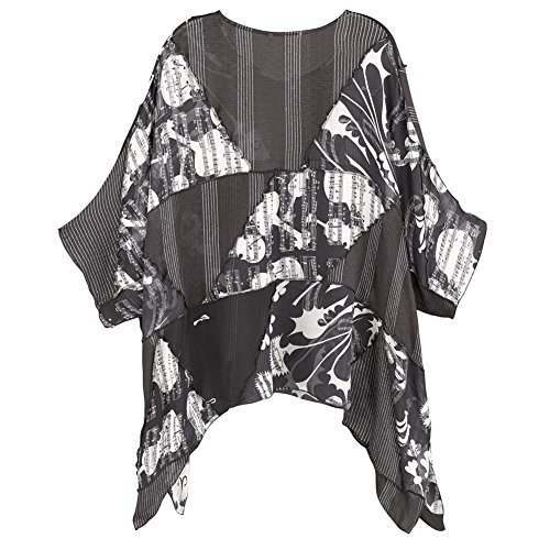 CATALOG CLASSICS Women's Tunic Top - Black and White Background Music Sheer Blouse - XXL