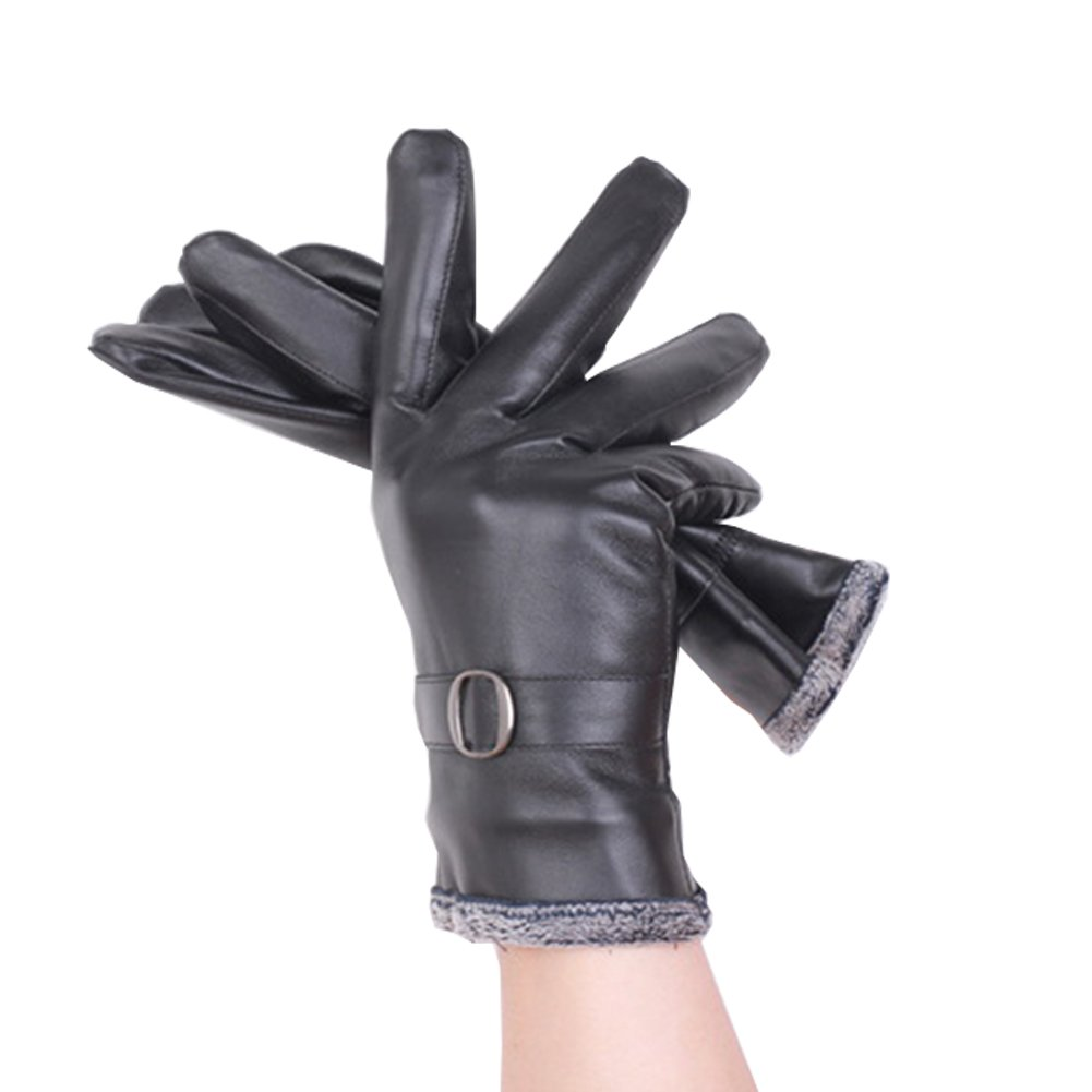 Funbase Winter Men PU Leather Outdoor Cycling Inside Lining Fur Gloves