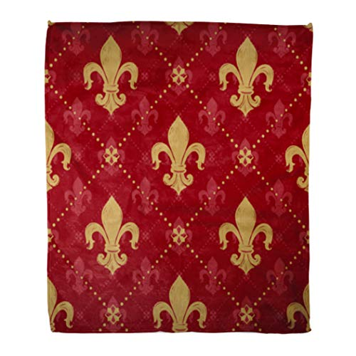 French Empire Decor - Golee Throw Blanket Expensive Kingly Gold Lily Signs in of on Empire Red 60x80 Inches Warm Fuzzy Soft Blanket for Bed Sofa