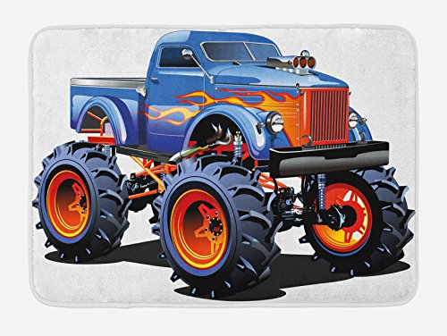 Lunarable Man Cave Bath Mat, Cartoon Monster Truck Huge Tyres Off-Road Heavy Large Tractor Wheels Turbo, Plush Bathroom Decor Mat Non Slip Backing, 29.5 W X 17.5 W Inches, -