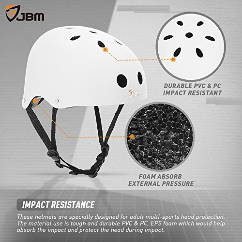JBM Skateboard Helmet CPSC ASTM Certified Impact Resistance Ventilation for Multi-Sports Cycling Skateboarding Scooter Roller Skate Inline Skating Longboard