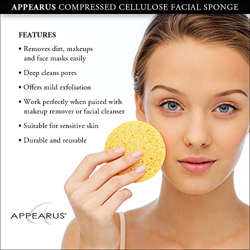 Appearus Compressed Natural Cellulose Facial Sponges, White, Made in USA (100 count/S1901W) by Appearus (Image #3)