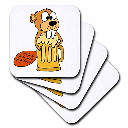 - 3D Rose Funny Beaver is Hugging Tall Mug of Beer Ceramic Tile Coasters Multicolor
