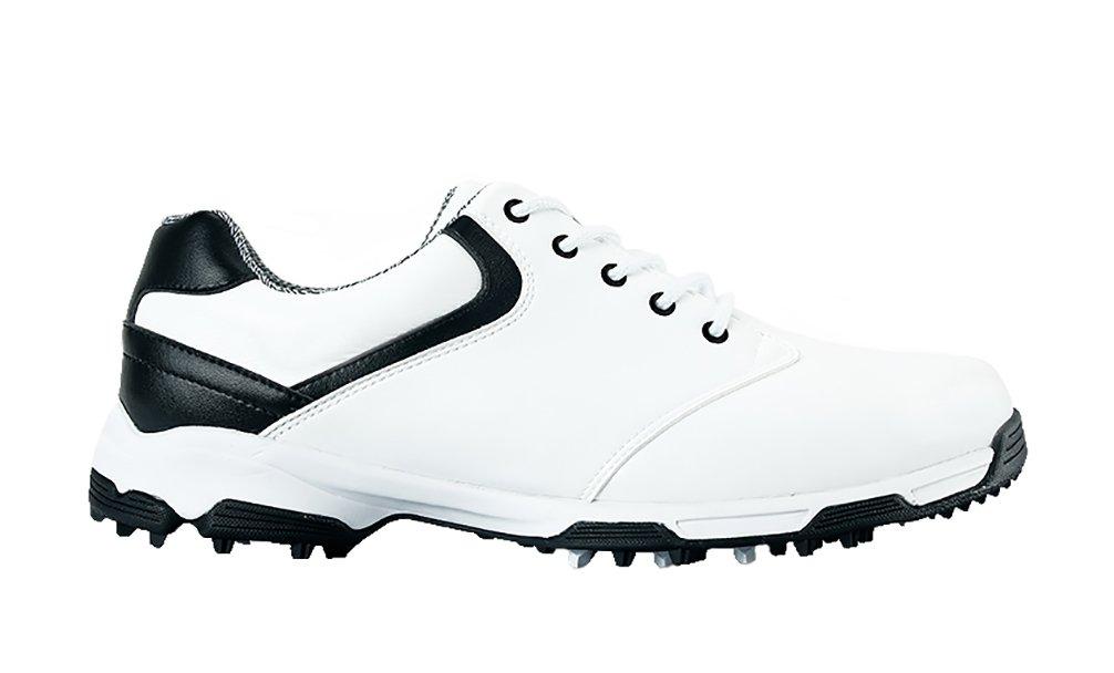 (ロモンス)Romons メンズ イングランド風 Golf ゴルフシューズ 超軽量 防水 滑り止め スパイク B01HEZ67VY 25.5 cm ホワイト/ブラック