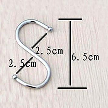DDING - Ganci arrotondati in acciaio Inox lucido, a forma di S, misura grande (Confezione da 10)