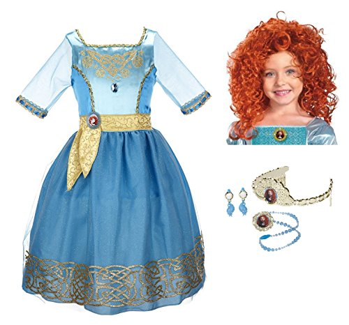 Disney Pixar Brave Merida Costume Set - Dress, Wig, and (Set Costumes Wig)