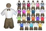 Baby Toddler Boy Party Suit DARK TAUPE Shorts Shirt Hat Necktie Vest set Sm-4T (2T, Dark Gray)