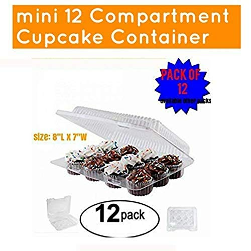 (MINI Cupcake/Muffin Container 12 Compartment pack of (12))