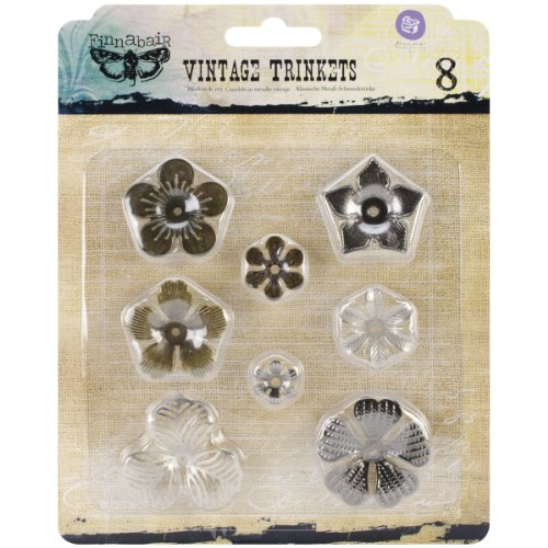 Floral Fabric Button (Prima Marketing Sunrise Sunset Mechanicals Metal Vintage Trinkets, Mini Flowers, 0.5-Inch to 1-Inch, 8/Pack)