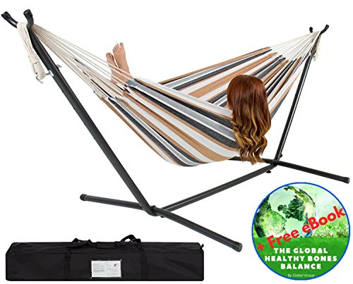Double Hammock – With Space Saving Steel Stand – 2 Person Outdoor Patio Furniture – Comfort 100% Cotton – Includes Portable Carrying Case Stripe – Bonus Exclusive eBook – by Global Group by Global Group
