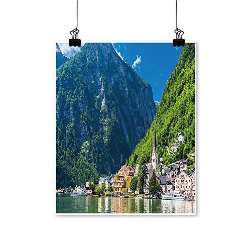 (Artwork for Office Decorations Hallstatt in Austria Mountains Hous Clear Sky Green Blue White Canvas Living Room,24
