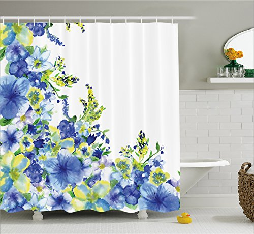 Blue Yellow Fabric (Watercolor Flower House Decor Shower Curtain by Ambesonne, Motley Floret Motifs with Splash Anemone Iris Revival Theme, Fabric Bathroom Decor Set with Hooks, 84 Inches Extra Long, Blue Yellow)