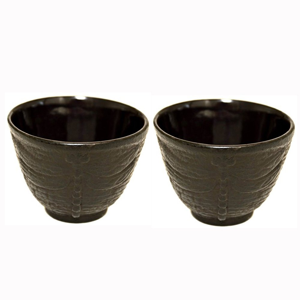 JapanBargain Japanbargain S-2119x2, Set Of 2 Cast Iron Teacups, Black Dragonfly