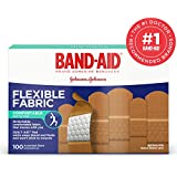 Band-Aid Brand Flexible Fabric Adhesive Bandages for Wound Care and First Aid, Assorted Sizes, 100 ct