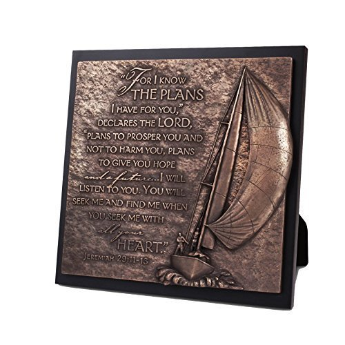 Lighthouse Christian Products Moments of Faith Sailboat Journey Sculpture Plaque, 8 3/4 x 8 3/4'' by Lighthouse Christian Products by Lighthouse Christian Products