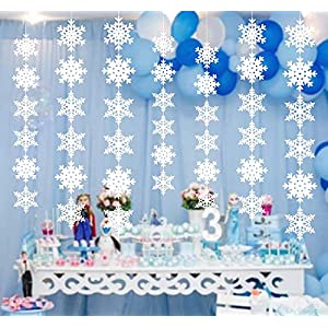 12PCS Snowflake Winter Wonderland Birthday Decorations – Christmas Hanging White Party Decor Supplies