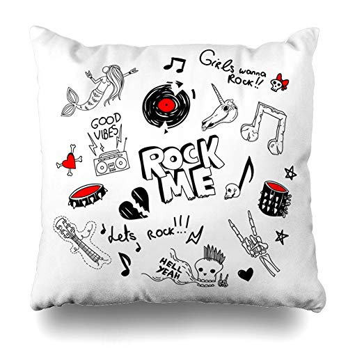 Alfredon Throw Pillow Cover Broken Cool Large Retro 90 Funny Teen Rock Girl Drawings Goth Old Radio Music Plate Notes Design Pillowcase Square Size 18 x 18 Inches Zippered Home Decor Cushion Case ()