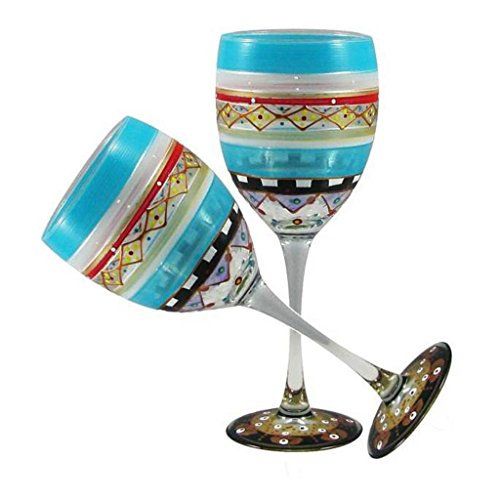 Golden Hill Studio Wine Glasses Set of 2 Hand Painted in the USA by American Artists-Set of 2-Mosaic Carnival Collection