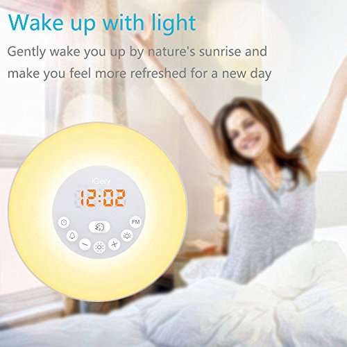Alarm Clocks Electronic Digital Clocks Radio Kids Desk Clocks Sunrise Simulator with 6 Nature Sounds, FM Radio, Touch Control, USB Charger