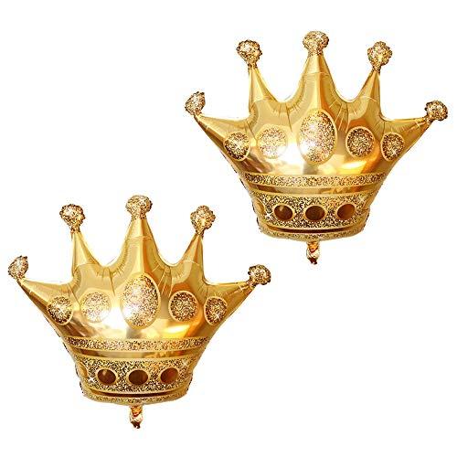 (Tellpet Crown Balloons Foil Helium Mylar Balloon, Gold, 2)