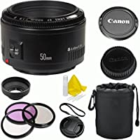 Canon EF 50mm f/1.8 II Autofocus Celltime Premium Fixed Lens Kit for Canon EOS 7D, 60D, EOS Rebel SL1, T1i, T2i, T3, T3i, T4i, T5i, XS, XSi, XT, XTi Digital SLR Cameras At A Glance Review Image