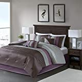 Grey and Plum Bedding Sets Madison Park Amherst Queen Size Bed Comforter Set Bed in A Bag - Purple, Grey, Pieced Stripes – 7 Pieces Bedding Sets – Ultra Soft Microfiber Bedroom Comforters