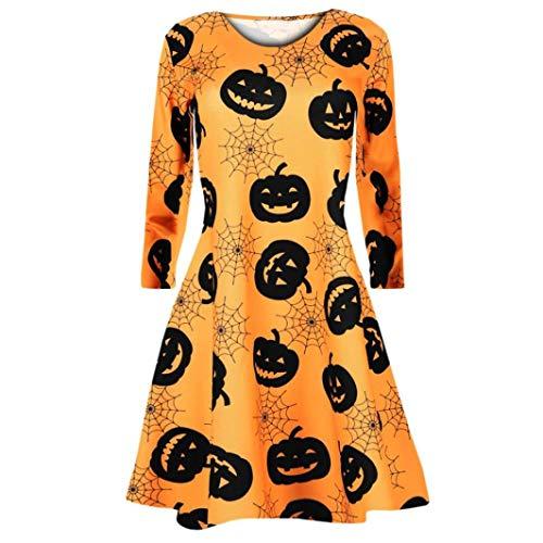 Gobling Women Long Sleeve Pumpkins Skull Halloween Evening Prom Costume Bat Swing Dress (Color : Yellow, Size : L) for $<!--$11.76-->
