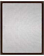 PALMAT Vliegenhor Aluminium raamkozijnen met accessoireset voor vaste maten Insectenpreventie Geen boren vereist Snelle montage (100 x 130 cm, bruin)